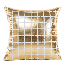 Load image into Gallery viewer, Gold Foil Print Pillow Case geometric square pattern