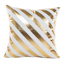 Load image into Gallery viewer, Gold Foil Print Pillow Case white and gold diagonal stripes