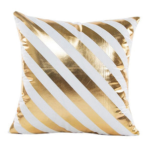 Gold Foil Print Pillow Case white and gold diagonal stripes