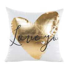 Load image into Gallery viewer, Gold Foil Print Pillow Case with gold coloured love heart