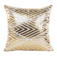 Load image into Gallery viewer, Gold Foil Print Pillow Case geometric corner line pattern