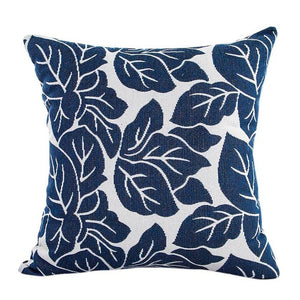Decorative blue leaf pattern pillowcase