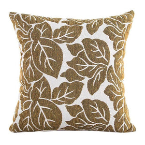 Decorative gold / yellow leaf pattern pillowcase