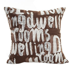 Decorative script pattern pillow cases bronze coloured