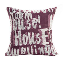 Load image into Gallery viewer, Decorative script pattern pillow cases purple coloured