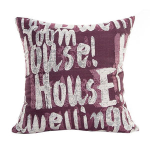 Decorative script pattern pillow cases purple coloured