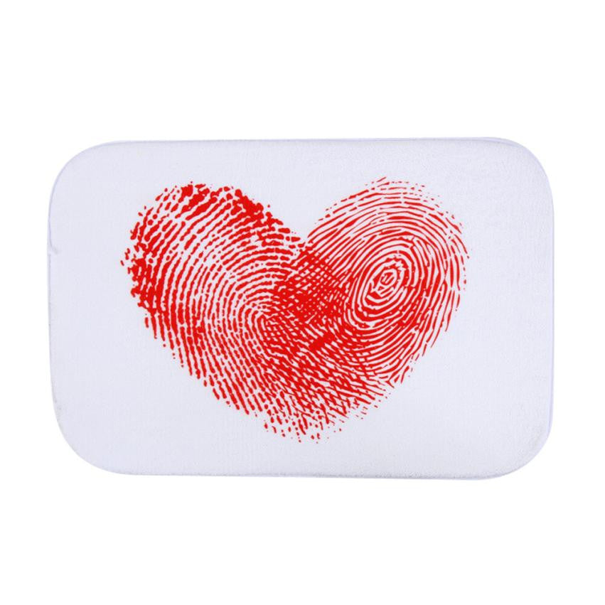 Red heart fingerprint pattern bathroom mat