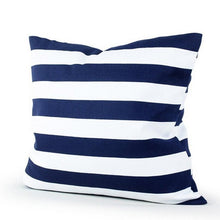 Load image into Gallery viewer, Decorative solid blue lined pillowcases