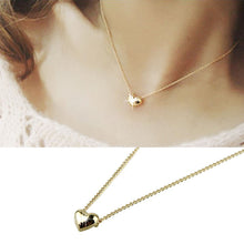 Load image into Gallery viewer, SUSENSTONE Simple Smooth Small Women Heart Crystal Rose Gold Pated Pendant NecklaceJewelry
