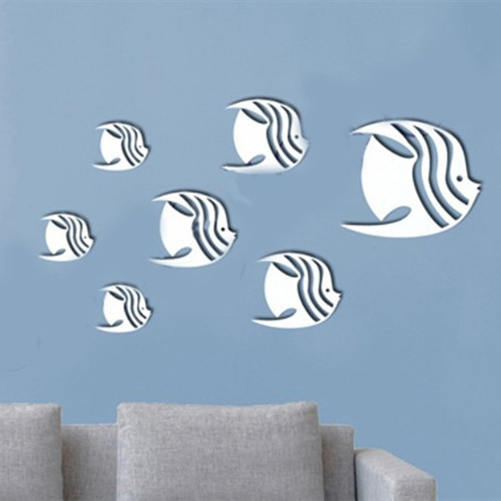 Fish Acrylic Mirrored Wall Decorative Sticker Art Mirror Decorative Wall Sticker Bedroom Secor Room Decoration