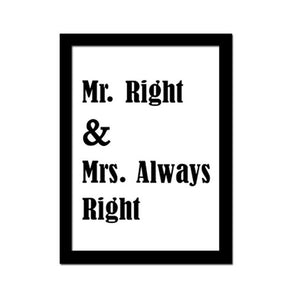Poster Print Selection Quotations in Minimalist Typography - Mr Right & Mrs. Always Right
