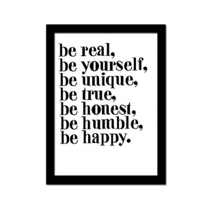 Poster Print Selection Quotations in Minimalist Typography - Be Real, Be Yourself, Be Unique