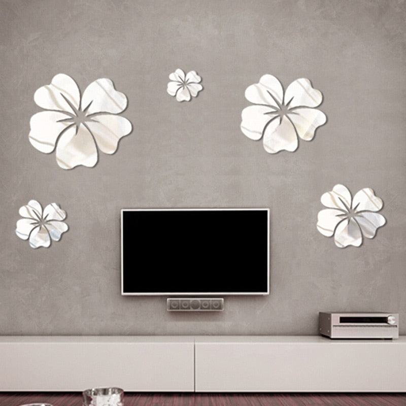 5 Pcs PVC Flower Mirror Flower Pattern Wall Sticker 3D Home Decoration Wall Art DIY Silver Mirror Wall Stickers