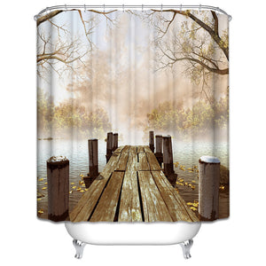 Bathroom Shower Curtain with wooden jetty illustration