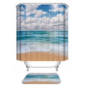 Bathroom Shower Curtain with Tropical Beach Illustration