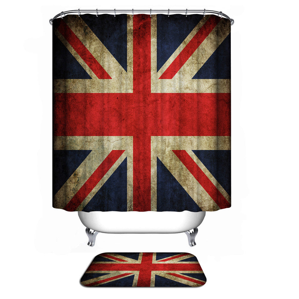 Bathroom Shower Curtain with Union Jack Pattern