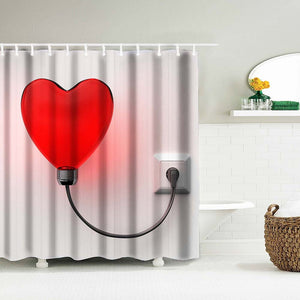 Bathroom Shower Curtain with Red Heart  Lamp