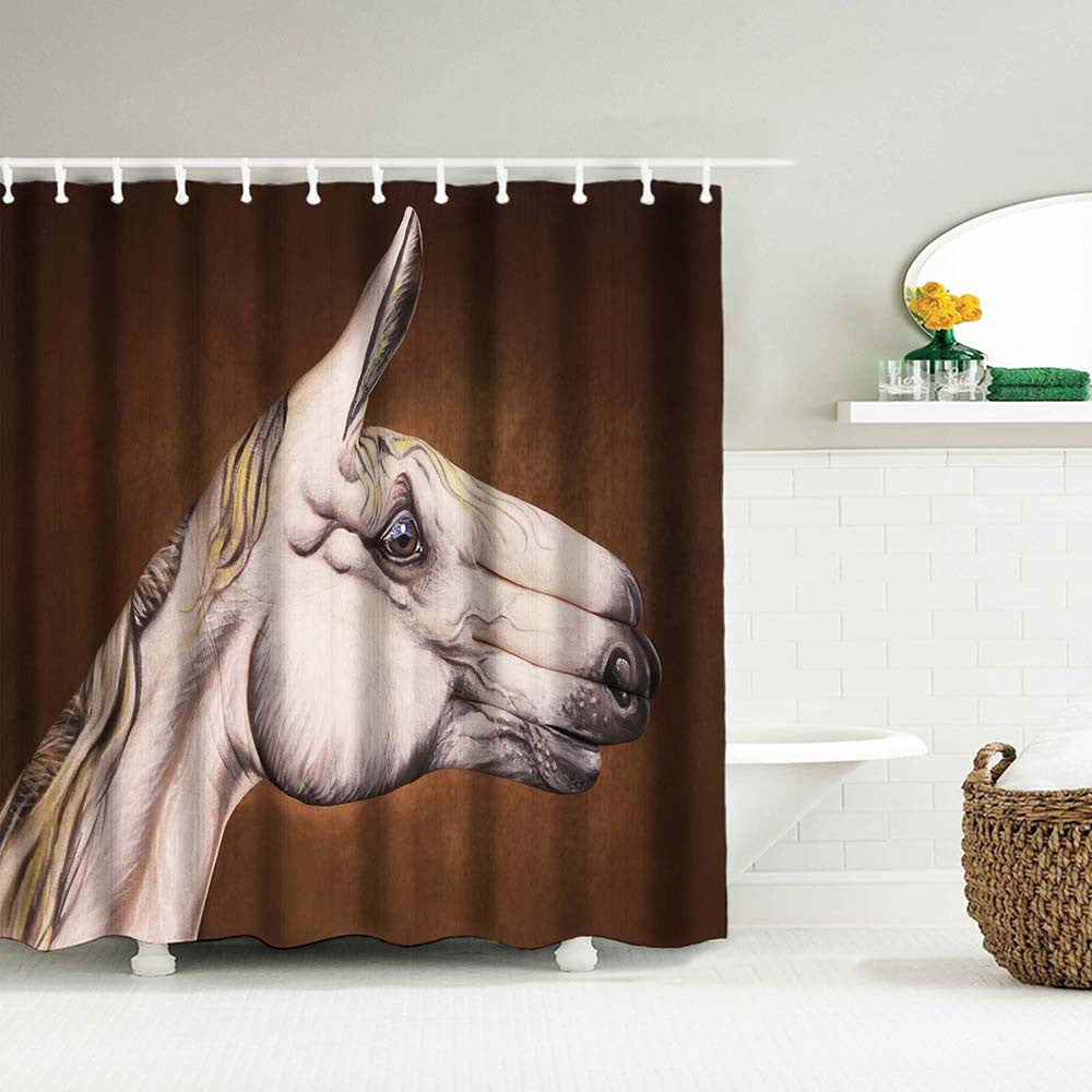 Bathroom Shower Curtain with Horse Head Pattern