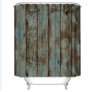 Bathroom Shower Curtain with Wooden Fence Texture Pattern