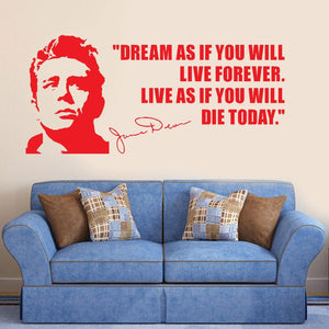 JAMES DEAN USA ACTOR QUOTES Dream As If You Will Vinyl Wall Art Sticker Home Decoration Curving Wall Sticker F706