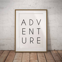 Load image into Gallery viewer, Adventure Wall Art Wanderlust Gift Canvas Print , Black and White Travel Adventure Poster Typography Print Modern Wall Decor