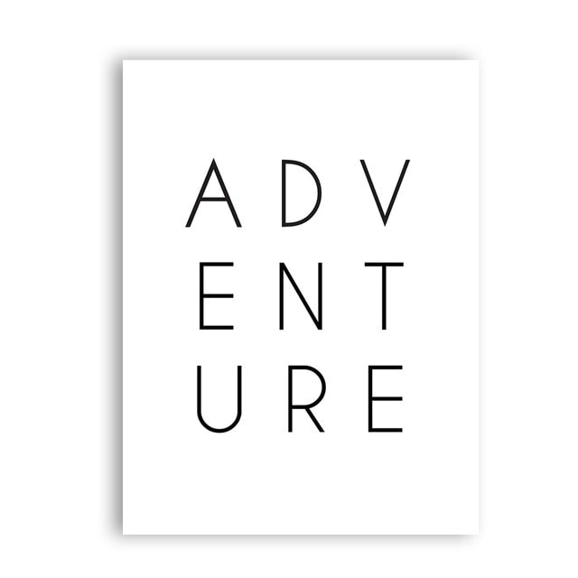 Adventure Wall Art Wanderlust Gift Canvas Print , Black and White Travel Adventure Poster Typography Print Modern Wall Decor