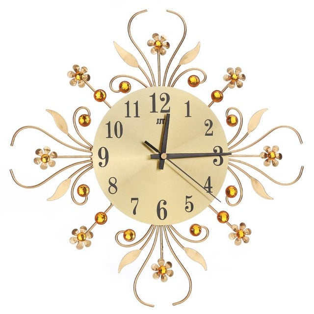 Vintage Metal Art Wall Clock Luxury Diamond Large Wall Watch Clock Morden Design Home Decor