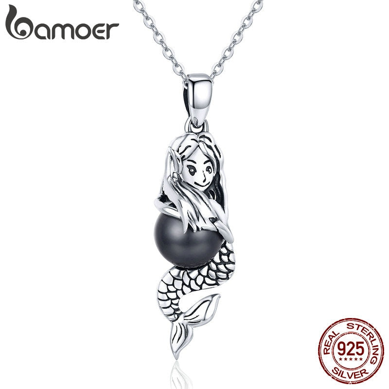 BAMOER Romantic Authentic 925 Sterling Silver Spirit of Ocean Mermaids Chain Pendant Necklaces for Women Silver Jewelry SCN251