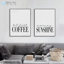 Load image into Gallery viewer, Modern Minimalist Coffee Sunshine Typography Poster Nordic Living Room Wall Art Print Picture Home Deco Canvas Painting Custom