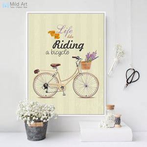 Vintage Retro Flower Bike Bicycle Typography Quotes Art Print Poster Rural Wall Picture Canvas Painting Custom Girl Room Decor