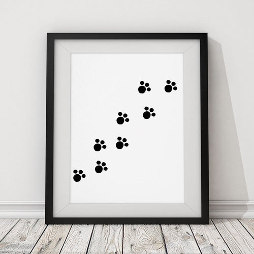 Dog Cat Black and White Paws Poster Print