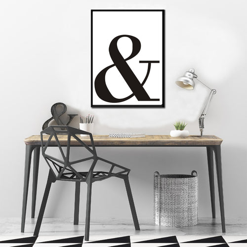 SURE LIFE Ampersand And Letter Symbol Painting on Canvas Black and White Typography Wall Picture Art Poster Oil Home Decorations