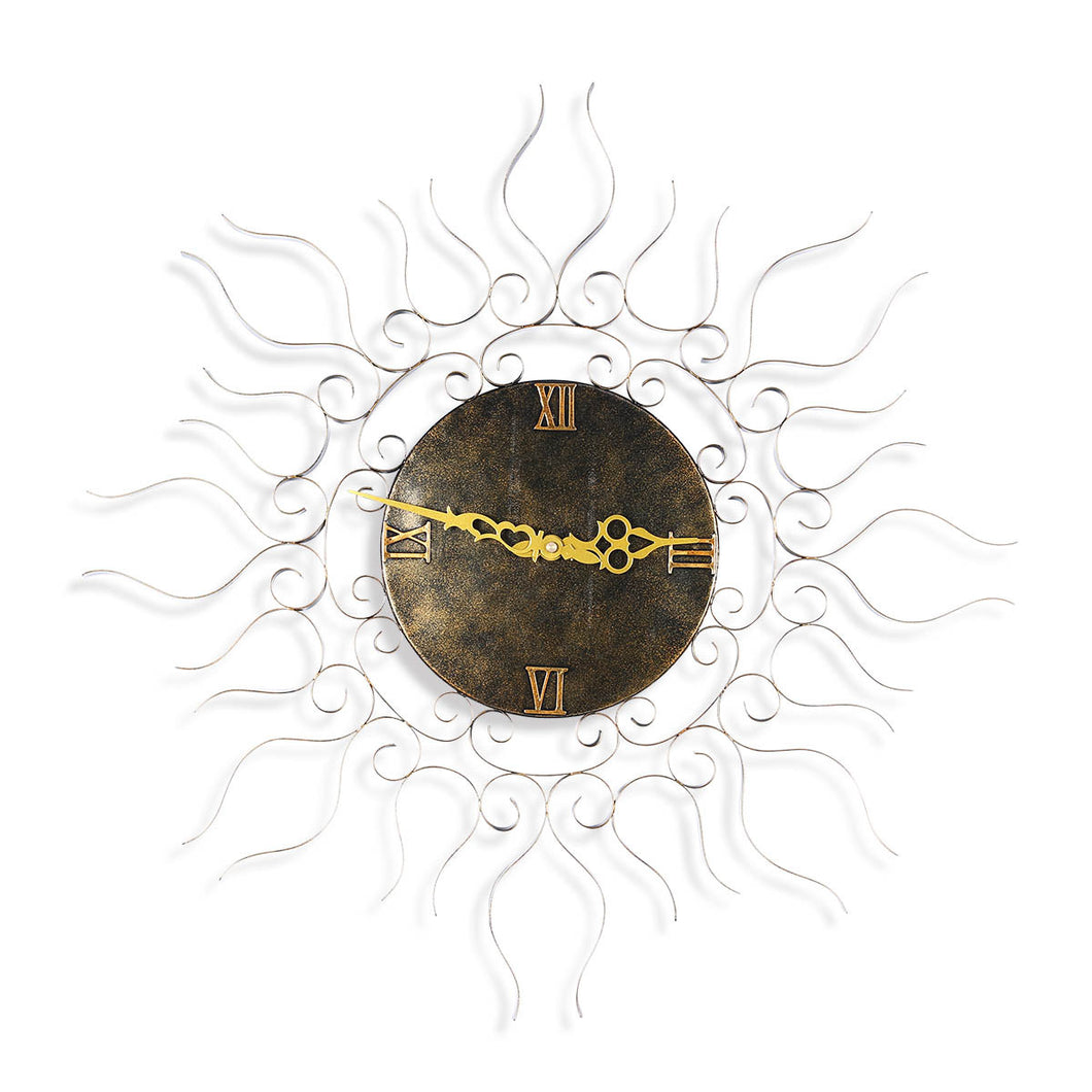 Sun-shaped Wall Clock Hanging Clock Vintage Clock Silent Clock Non-ticking Battery Operated Clock