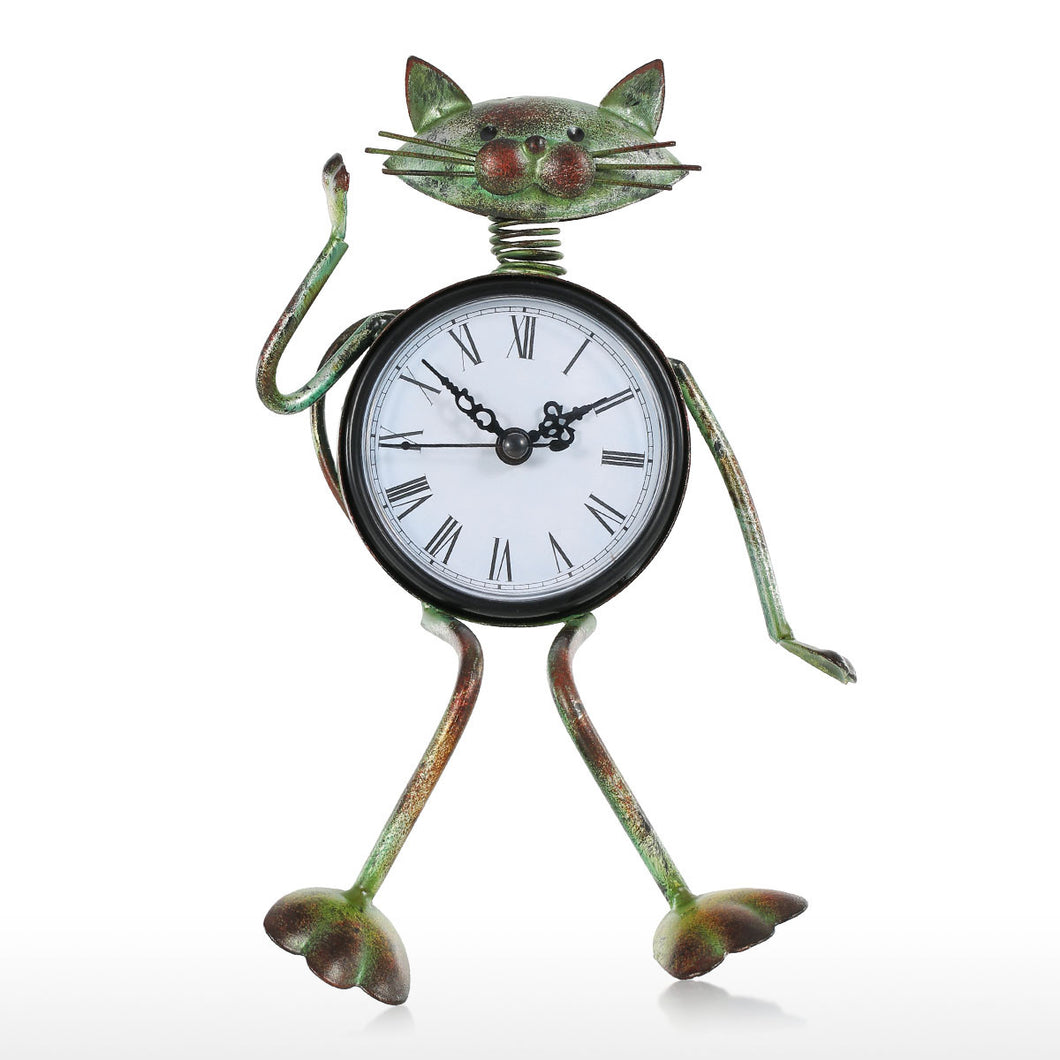 Cat Clock Handmade Vintage Metal Iron Cat Figurine Mute Table Clock Practical Clock One AA Battery