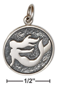 Sterling Silver Mermaid Silhouette on Disk Round Charm