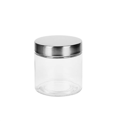 800ml Clear Round Glass Storage Jars Container with Stainless Steel Lids