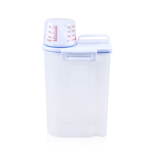 Dog pet food container with measuring cup
