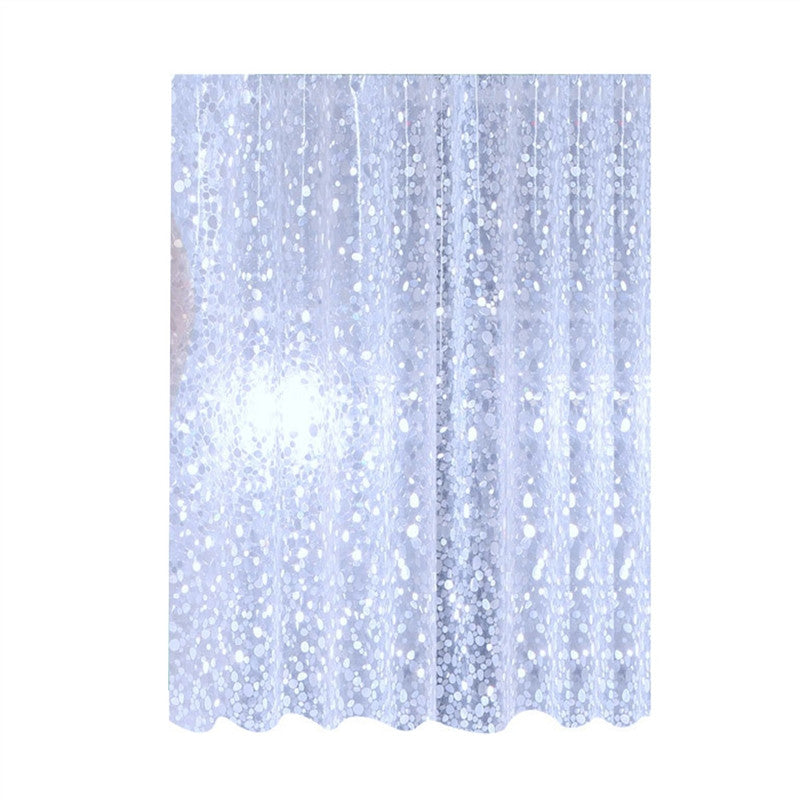 Bathroom Shower Curtain with Glittering Pebbles Pattern