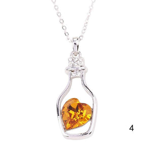 Drifting Bottle Heart Crystal  Pendants Necklace Classic Fine Jewelry