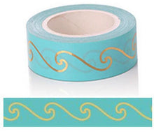 Load image into Gallery viewer, Gold Foil Wave Coloured Pattern Washi Tape