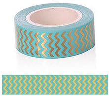 Load image into Gallery viewer, Gold Foil Zig Zag Coloured Pattern Washi Tape