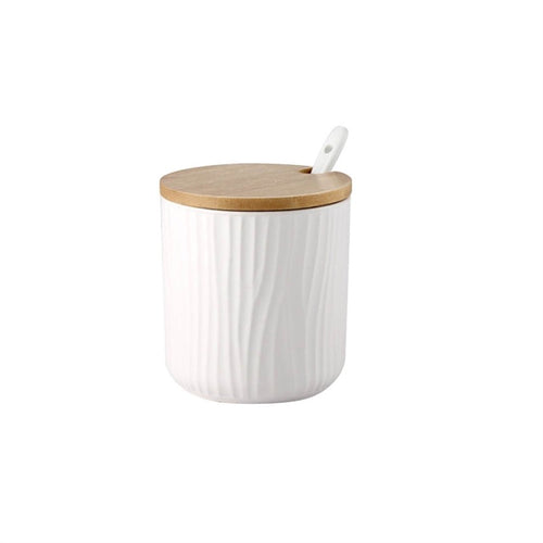 Round Ceramic Jars with Bamboo Lid