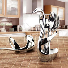 Load image into Gallery viewer, Creative Stainless Steel Fork Spoon Swan Fruit Food Fork Spoon Knife Base Holder
