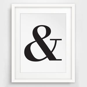 Ampersand, And Letter Symbol, Black and White Typography Wall Picture Canvas Art Poster Cuadros Oil Painting Wall Decor unframed