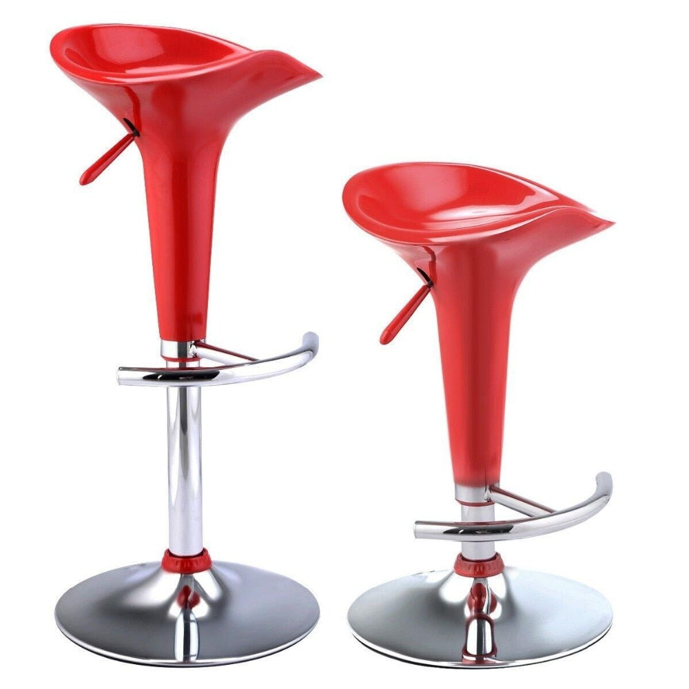 2pcs Swivel Gas Lift ABS Plastic Bar Stools Red Dropshipping