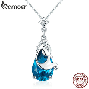 BAMOER Romantic 100% Real 925 Sterling Silver Mermaids Missing Legend Pendant Necklaces for Women Sterling Silver Jewelry SCN255