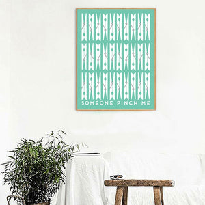 Green Abstract Laundry Clip Pattern Canvas Print
