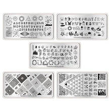 Load image into Gallery viewer, NICOLE DIARY 5 Pcs Nail Stamping Plates Set Typography Tattoo Dreamcatcher Romantic Series Nail Art Stamp Template Image Plates