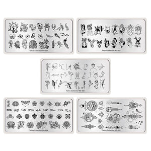 NICOLE DIARY 5 Pcs Nail Stamping Plates Set Typography Tattoo Dreamcatcher Romantic Series Nail Art Stamp Template Image Plates