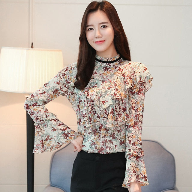046b71e11495f1 ... Load image into Gallery viewer, 2019 new spring women blouses long  sleeved blouses casual fashion ...